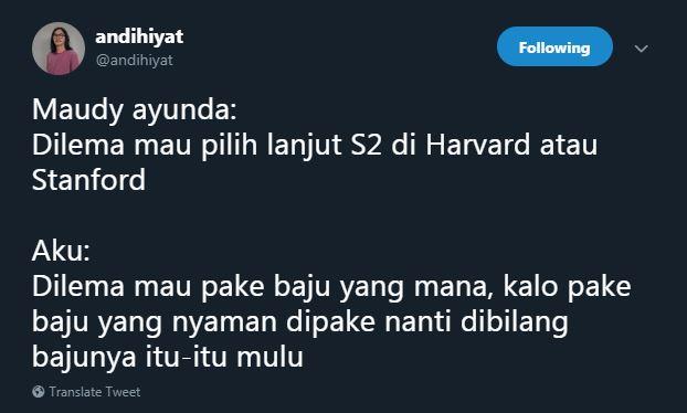 beda dilema maudi orang biasa © Twitter
