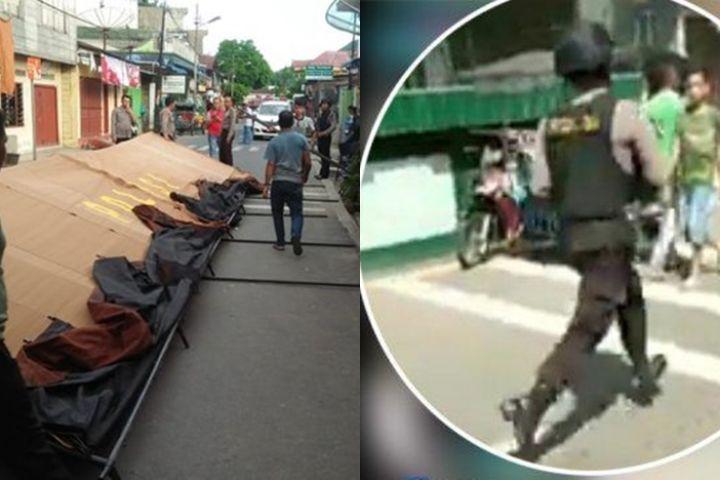 Ini video ledakan bom dan penangkapan terduga teroris di Sibolga