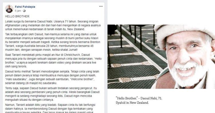 Orang pertama ditembak ucap hello brother kepada teroris Selandia Baru