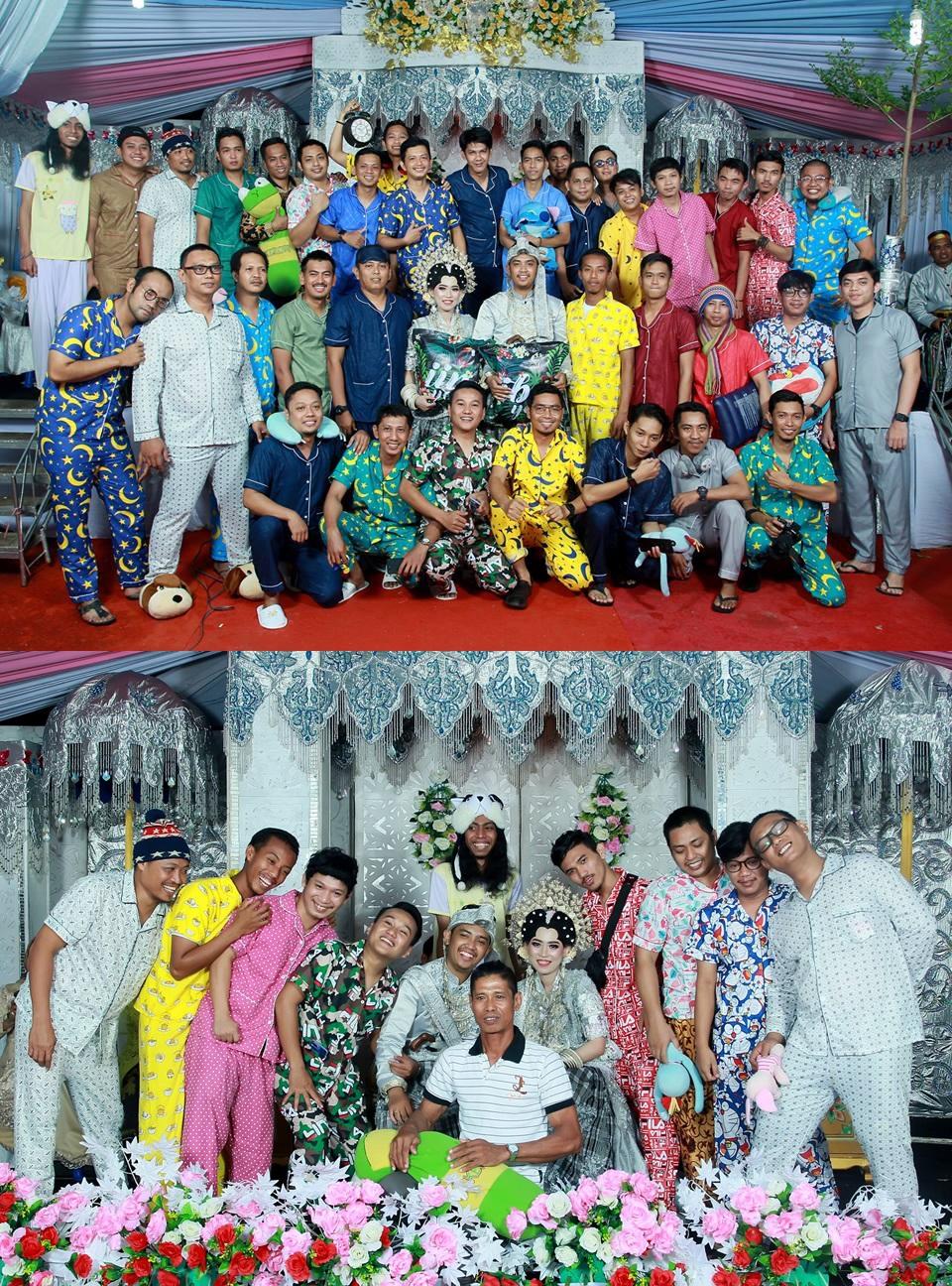 datang nikahan teman pakai piyama © Facebook