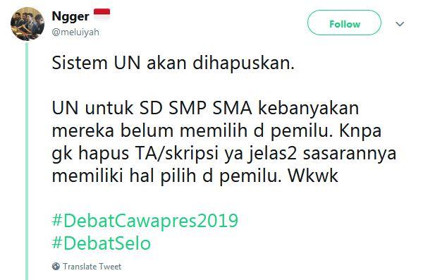 cuitan debat cawapres baper Twitter