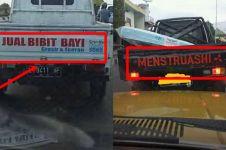 10 Tulisan lucu di mobil pick-up, bikin ketawa sambil mikir keras