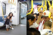 Gaya 10 seleb naik MRT Jakarta, ada yang sambil momong anak