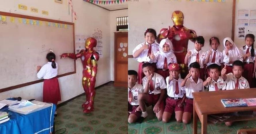 Aksi guru SD mengajar pakai kostum Iron Man ini viral, tuai pujian