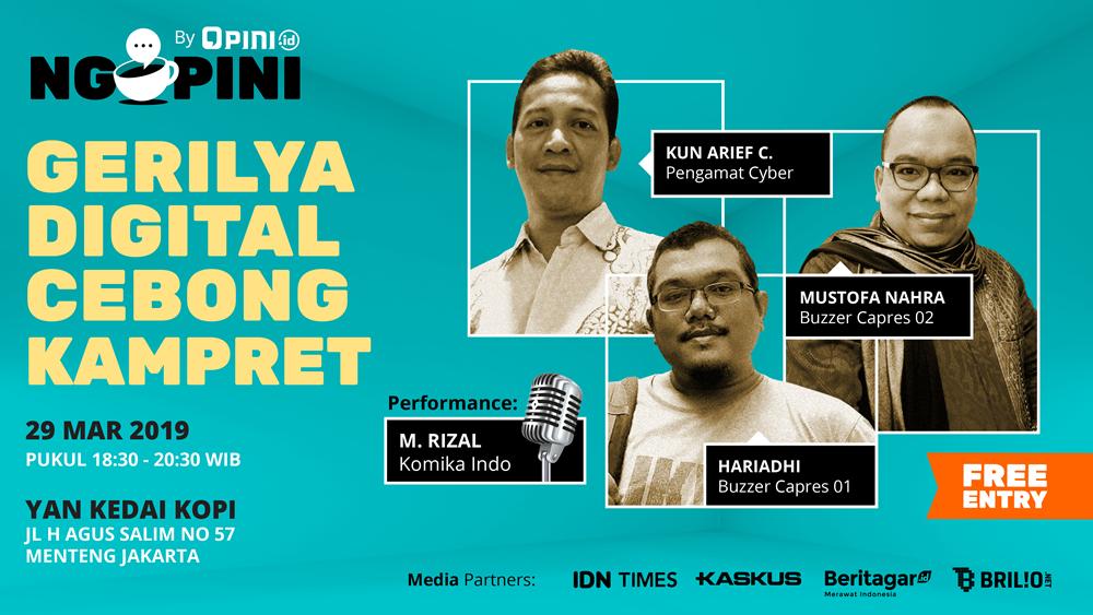 Diskusi 'Gerilya Digital Cebong-Kampret' di Ngopini, jangan terlewat!