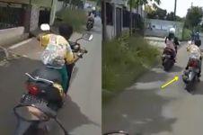 Bocah nekat ngebut naik motor, endingnya apes banget