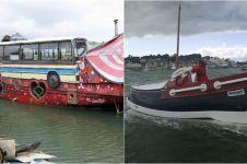 12 Perahu ini bentuknya nyeleneh, dari bus hingga batu