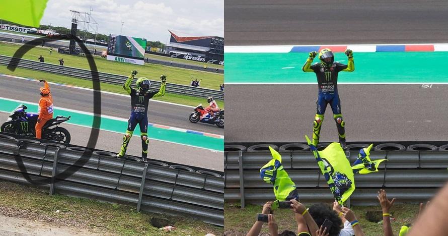 Selfie di atas motor Valentino Rossi, aksi marshal ini jadi sorotan
