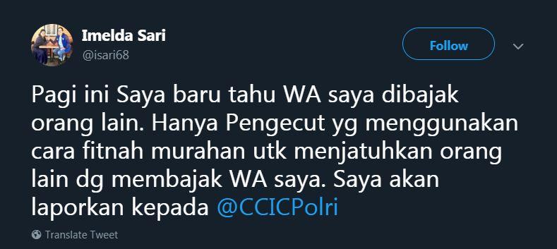 wa imelda demokrat diretas © Twitter/@isari68