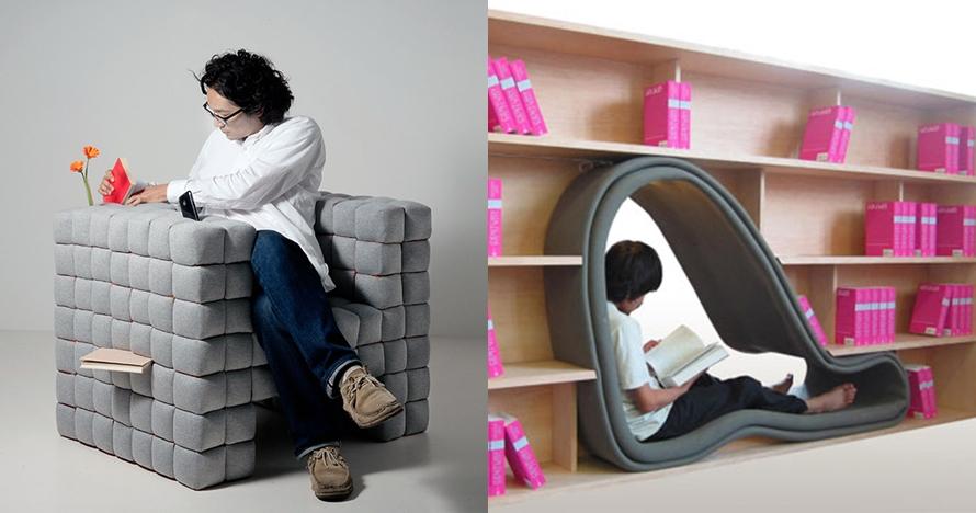 10 Inspirasi sofa merangkap rak buku ini bikin semangat membaca