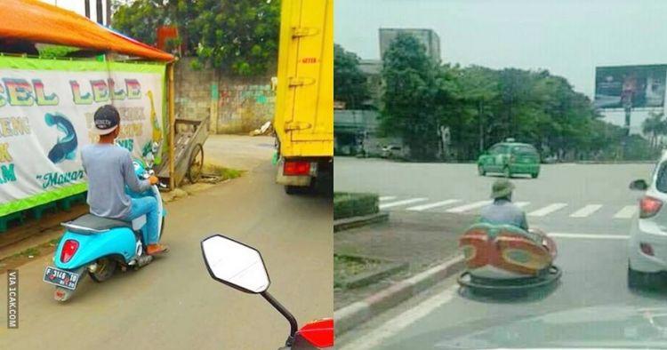 12 Penampakan kendaraan di jalan raya ini nggak biasa, kocak abis