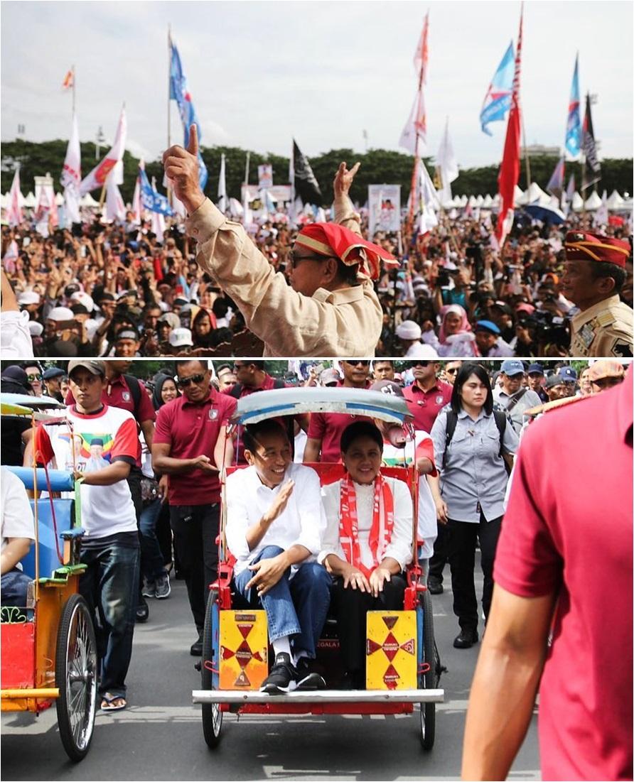 perbandingan potret kampanye jokowi prabowo © berbagai sumber