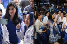 10 Momen Annisa Pohan dikerumuni ibu-ibu saat temani AHY kampanye