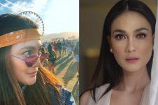 7 Gaya Luna Maya nonton festival Coachella di California, stylish