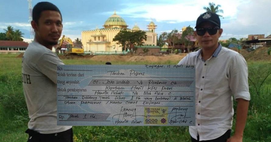 Viral pendukung Jokowi dan Prabowo taruhan 1 hektare tanah