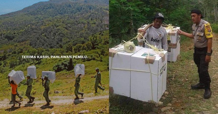 10 Momen perjuangan petugas antar kotak suara ke pelosok Nusantara