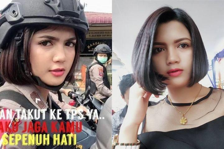 10 Pesona Vani Simbolon, polwan cantik pengaman Pemilu 2019