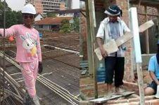 11 Potret lucu tukang bangunan di sela kegiatannya, kocak abis