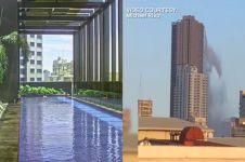 Video air dari kolam renang di pucuk gedung tumpah karena gempa