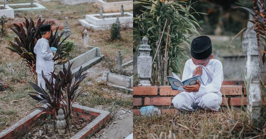15 Foto cerita anak ziarah ke makam ibunda ini bikin mewek