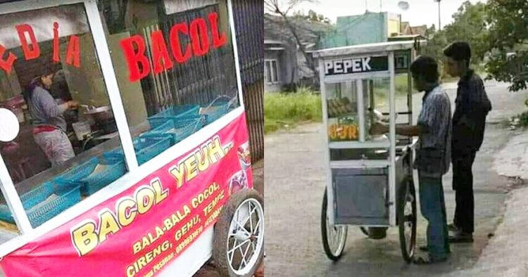 11 Spanduk di gerobak pedagang makanan ini bikin mikir keras