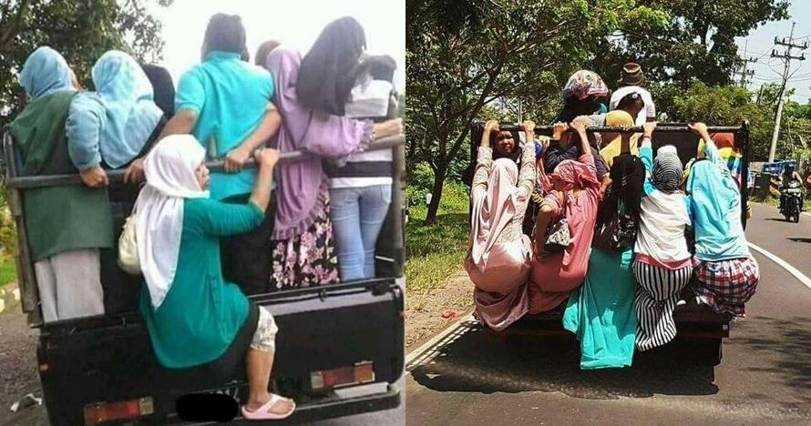 7 Kelakuan emak-emak naik mobil pick up ini ngeri-ngeri sedap