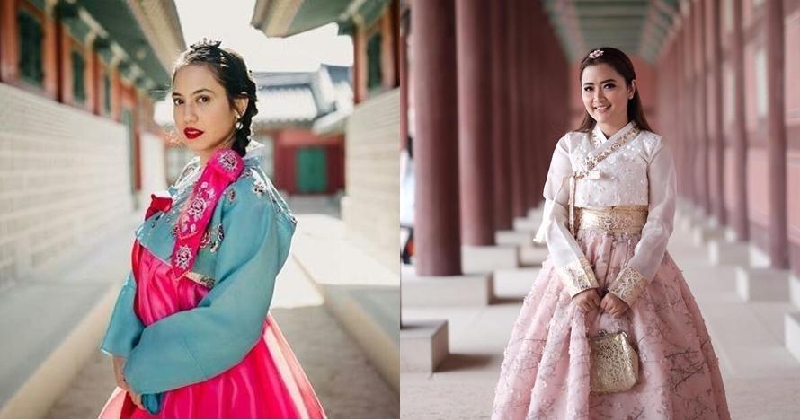 Potret 15 seleb cantik Indonesia pakai baju khas Korea, memesona