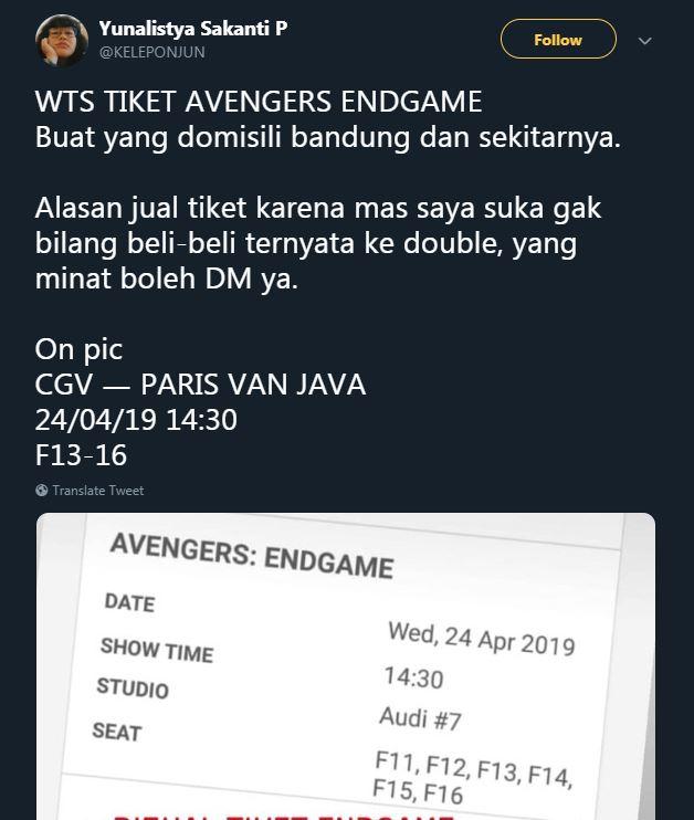 alasan jual tiket avengers endgame © Twitter