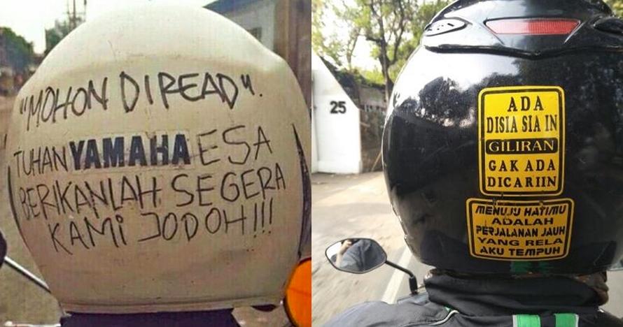 10 Curhatan lucu di belakang helm ini bikin langsung auto senyum