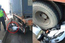 Aksi heroik polisi korbankan motornya untuk tahan truk rem blong