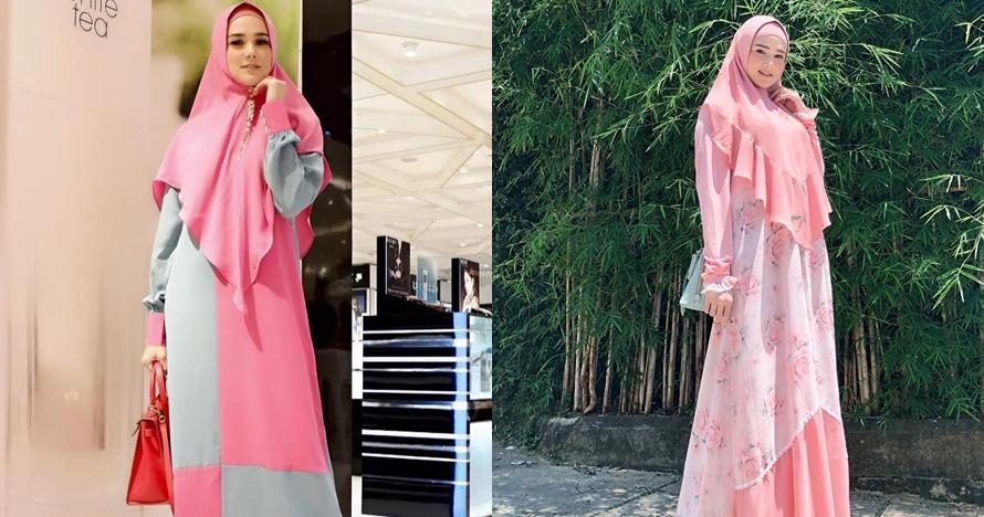 8 Inspirasi gamis pink Mulan Jameela, cocok buat acara bukber