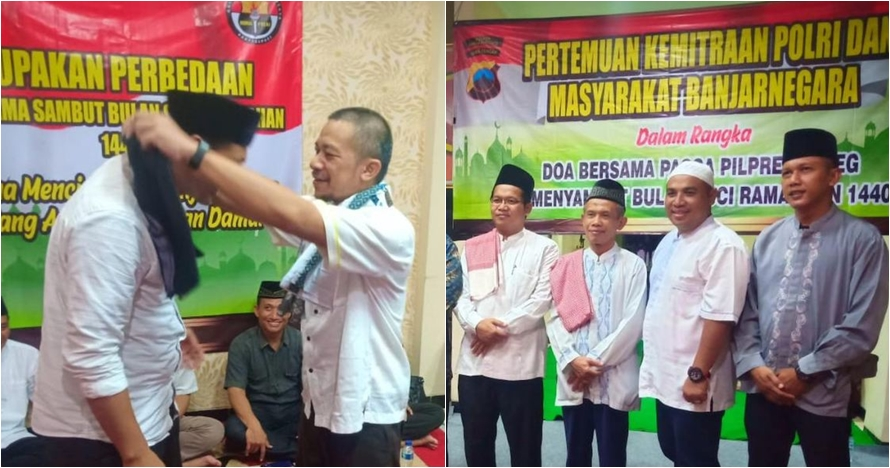 Tanda damai, timses Jokowi dan Prabowo tukar sarung