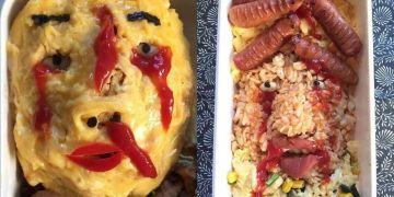 9 Menu bekal makanan ini berbentuk wajah manusia, bikin bergidik