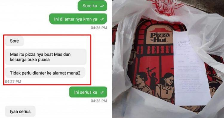 Cewek non muslim ini sengaja order pizza untuk takjil ojek online