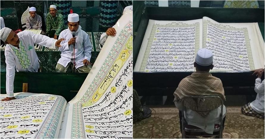 Unik, jemaah masjid ini tadarus dengan Alquran raksasa