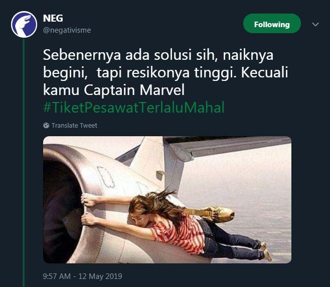 cuitan lucu tiket pesawat terlalu mahal © Twitter