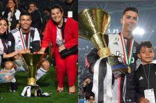 Momen anak Ronaldo tak sengaja terbentur trofi Liga Italia