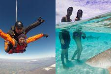 7 Aksi ekstrem Dimas Anggara, ada terjun payung sampai ketemu hiu