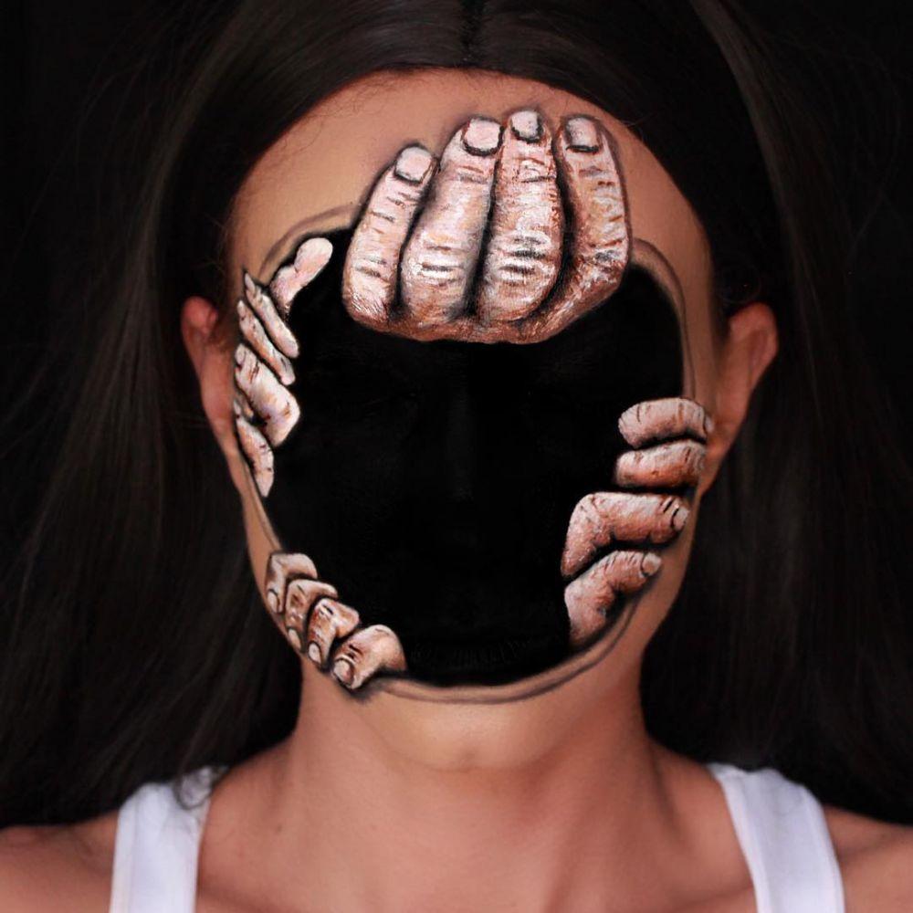 Hasil makeup 3D seram istimewa