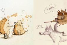 10 Ilustrasi keren dari tumpahan kopi, hasilnya bikin terpana