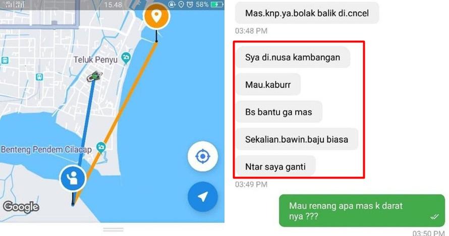 Driver ojek online dapat order dari napi, isi chatnya mengejutkan
