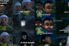 8 Meme lucu reaksi Upin Ipin ketemu hantu, bikin tepuk jidat