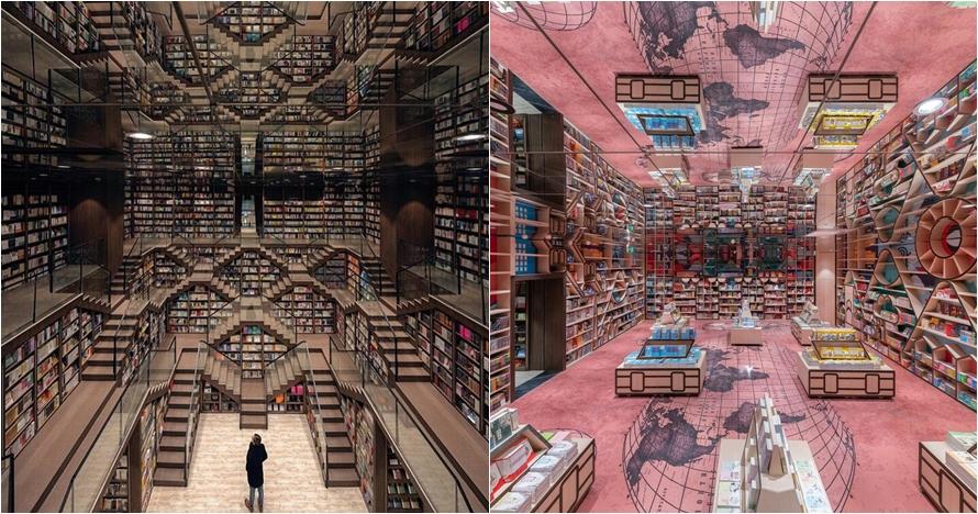 7 Potret langit-langit toko buku dari cermin ini bikin melongo