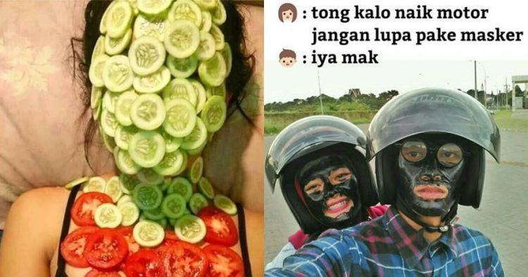 10 Tingkah nyeleneh orang pakai masker wajah ini bikin geleng kepala