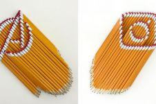 14 Karya berbentuk logo terkenal ini cuma pakai susunan pensil, keren