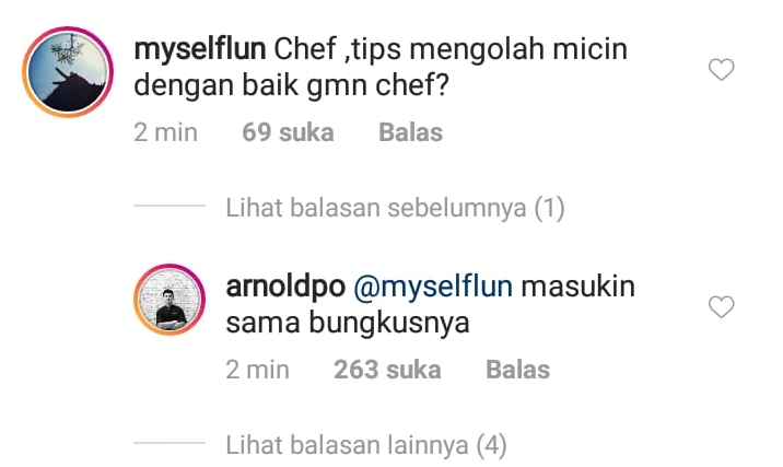 komentar lucu Chef Arnold warganet instagram