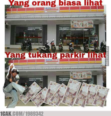 meme lucu logika tukang parkir © berbagai sumber
