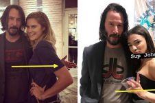 6 Momen Keanu Reeves tak sentuh fans wanita saat berfoto bersama