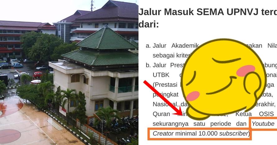 Viral syarat masuk kuliah kampus di Jakarta modal 10 ribu subscriber
