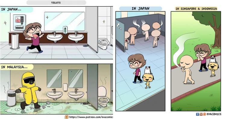 10 Ilustrasi kehidupan Jepang vs negara lain ini bikin angguk setuju